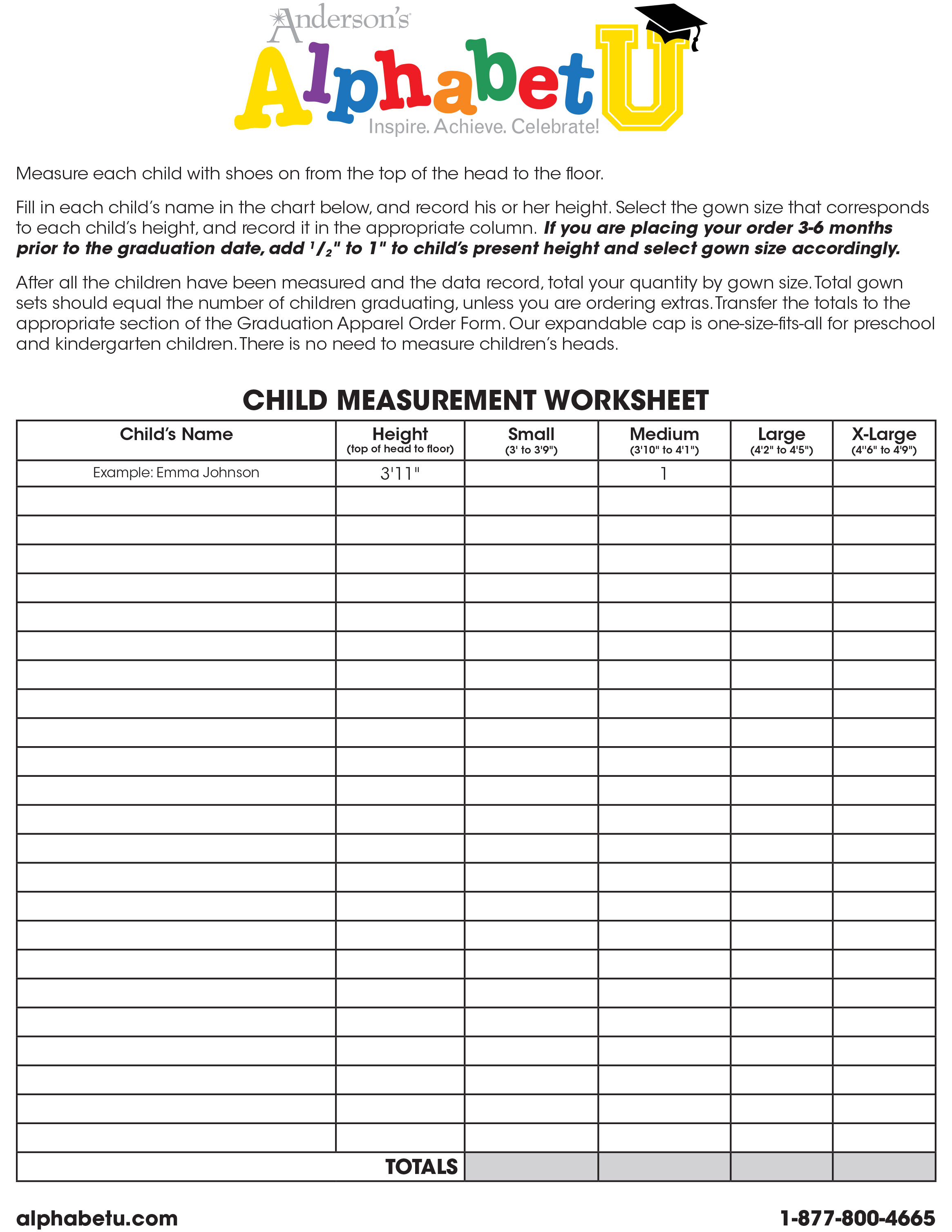 Child Measurement Worksheet