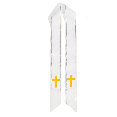 White Graduation Sash With Gold Cross