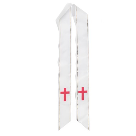 White Graduation Sash With Red Cross
