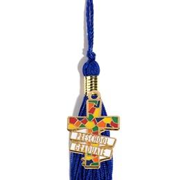 Graduation Tassel With Preschool Graduate Stained Glass Cross Charm