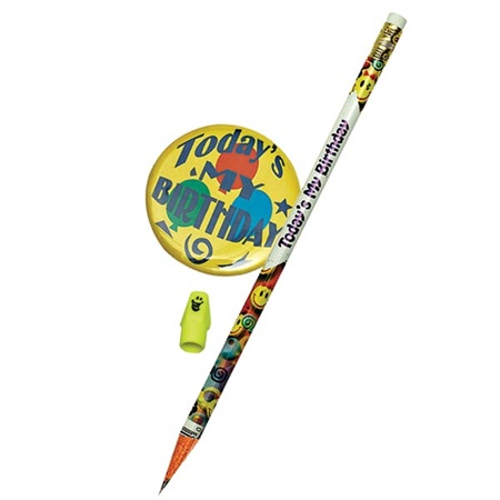 Button Pencil Eraser Birthday Set