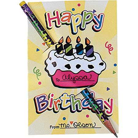 Happy Birthday with Cake Pencil Card