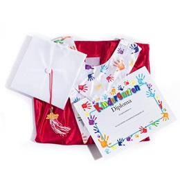 Shiny Graduation Set With Handprints Diploma