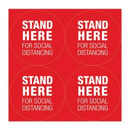 Round Floor Decals Set - Stand Here For Social Distancing