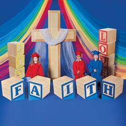 Faith, Love, Joy Blocks and Cross Prop Set