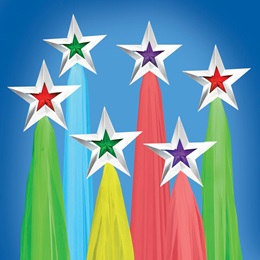 Primary Color Background Stars Kit (set of 6)