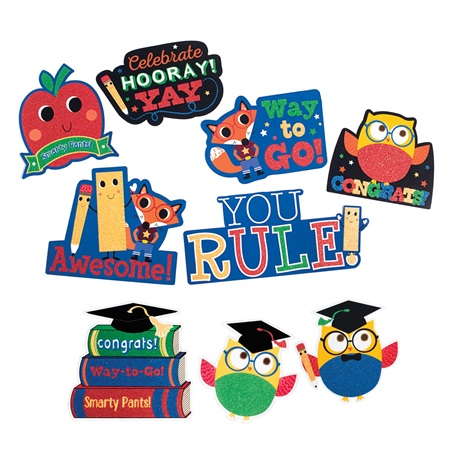 Glitter Graduation Cutouts Pack
