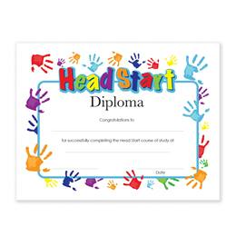 Head Start Diplomas With Handprints Design