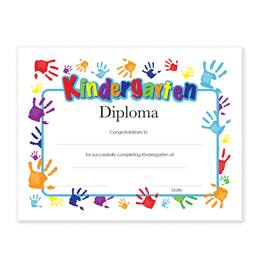 Kindergarten Diplomas With Handprints Design