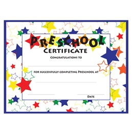 Color Craze Stars Preschool Certificates, 30/pkg