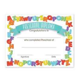 Preschool Diplomas With Alphabet Border