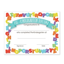 Pre-K Diplomas With Alphabet Border