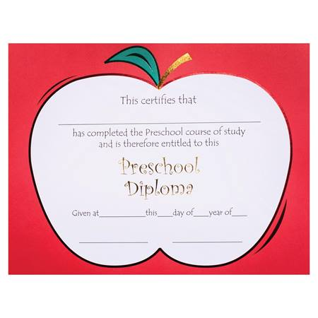 Premium Foil Preschool Diploma - Apple