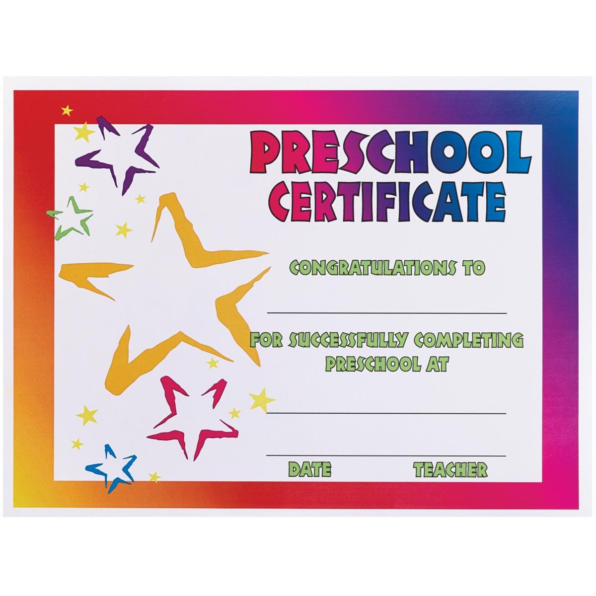 Neon Stars Preschool Certificate Alphabet U