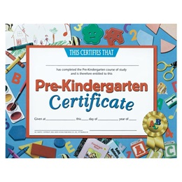 Pre-Kindergarten Certificate with School Supplies Design