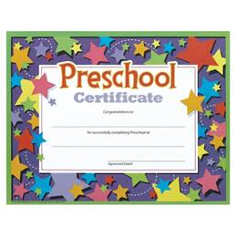 Preschool Certificate with Stars