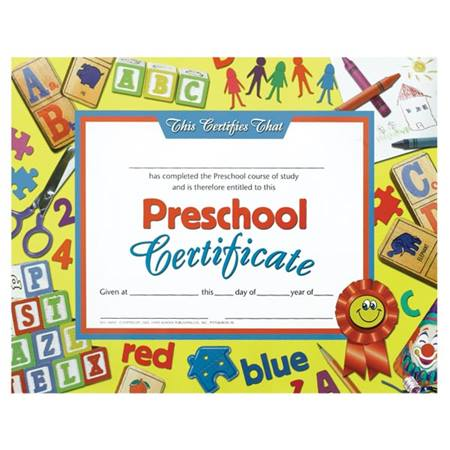 Preschool Certificate - Blocks