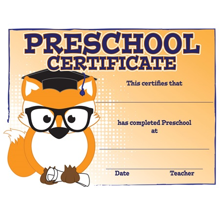 Fox Preschool Certificates - 30/pkg
