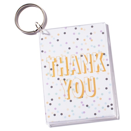 Photo Key Chain - Thank You Confetti