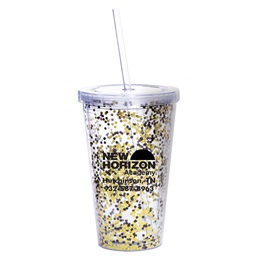 Black and Gold Confetti Tumbler