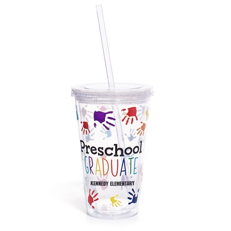 Personalized Tumbler - Handprints/Preschool Graduate