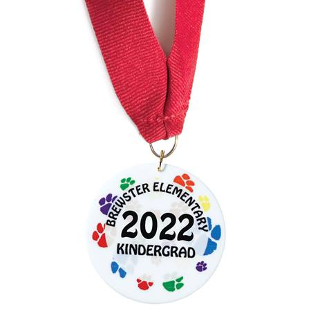 Full-color Custom Graduation Medallion-Colorful Paws