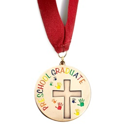 Cross and Handprints Preschool Graduate Medallion
