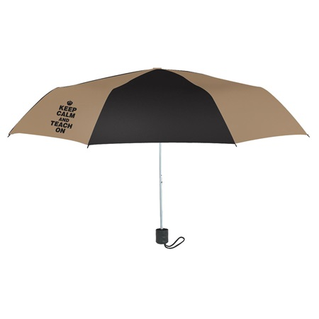 Umbrella- Black/Tan Keep Calm and Teach On