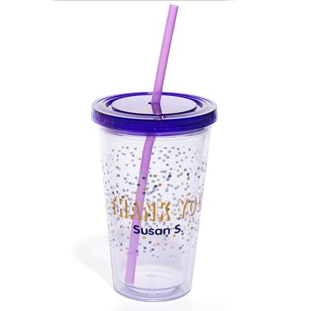 Personalized Tumbler - Thank You/Confetti